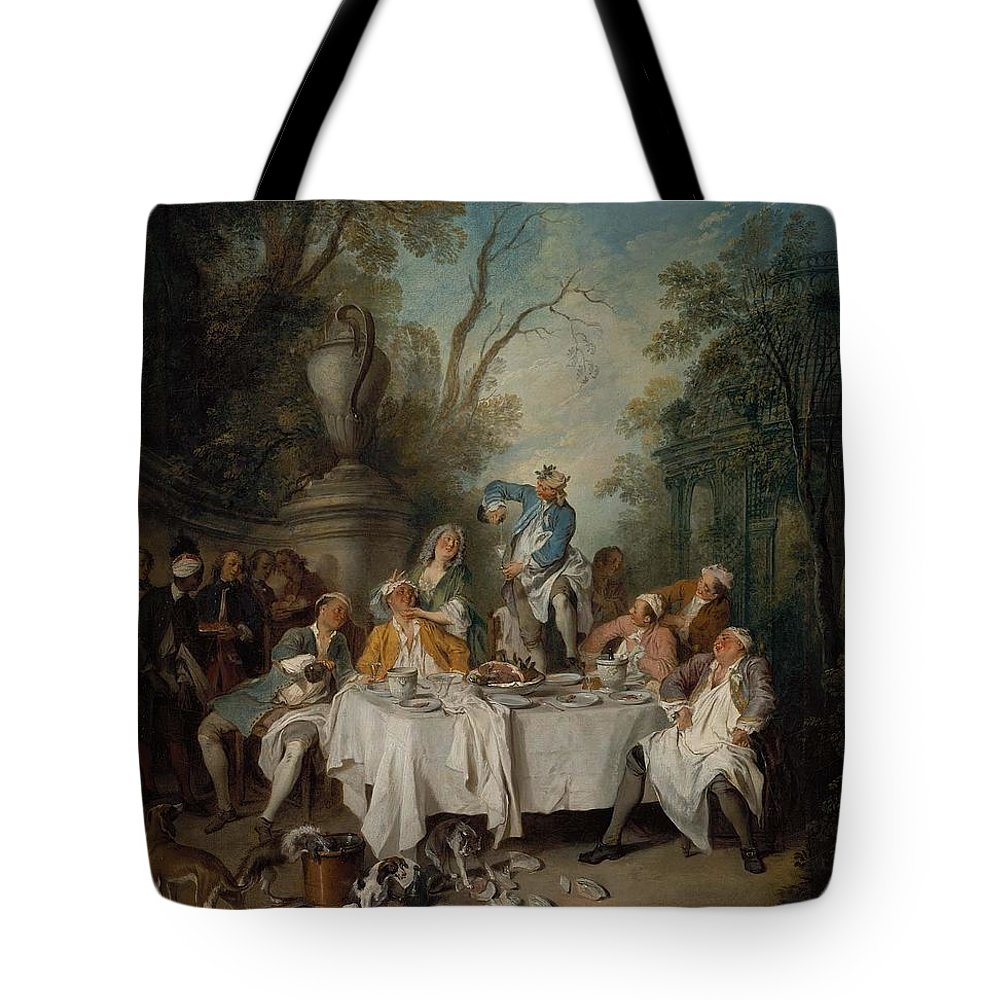 Luncheon Party In A Park Le D�jeuner De Jambon About 1735 Nicolas Lancret (french Tote Bag featuring the painting Luncheon Party In A Park by MotionAge Designs