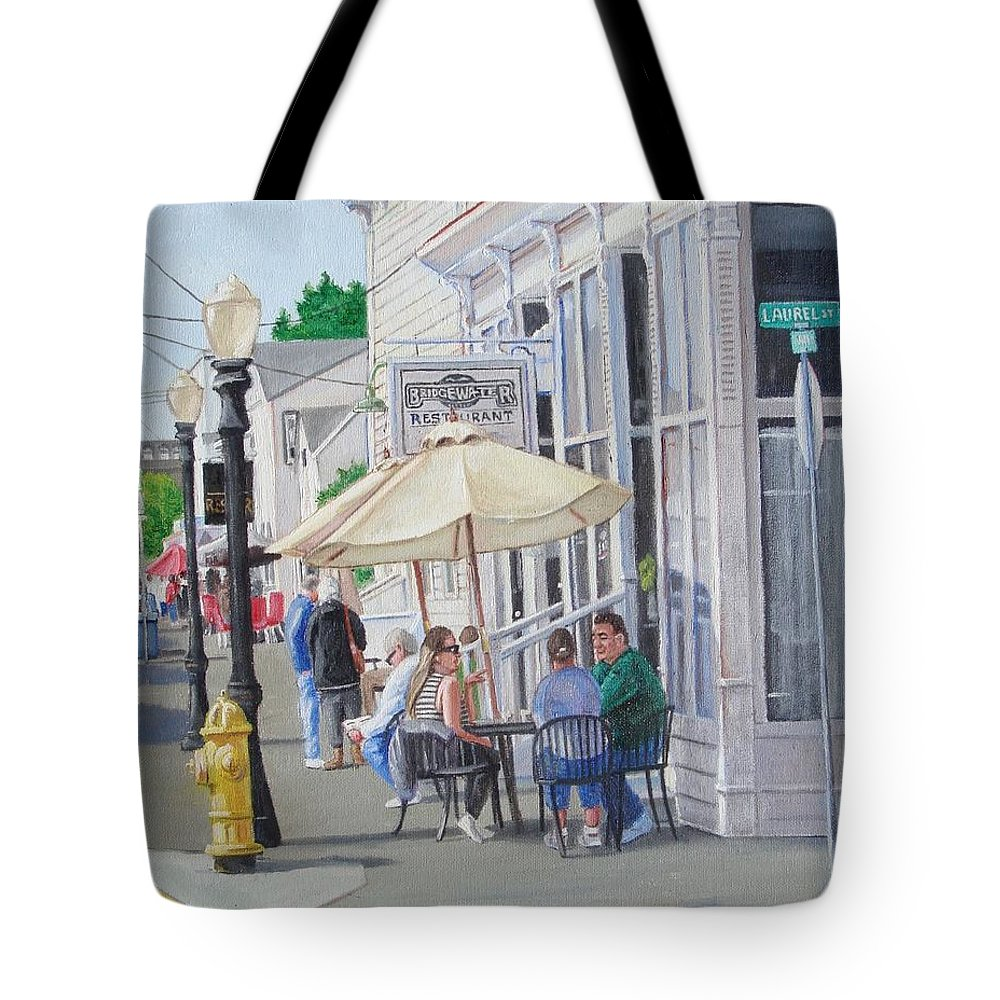 Florence Tote Bag featuring the painting Lunchtime In Florence, Or by Ron Bendorff