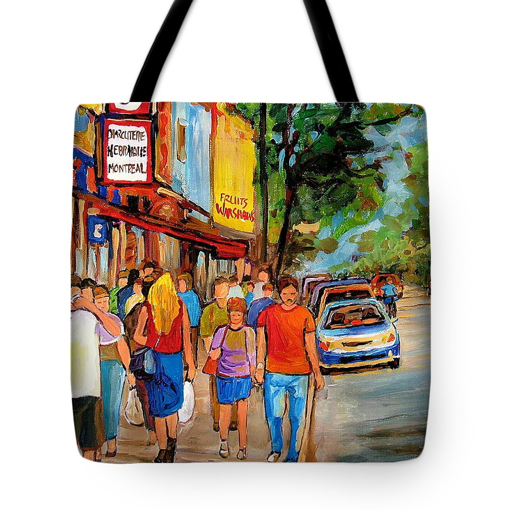 Montreal Streetscenes Tote Bag featuring the painting Lunchtime On Mainstreet by Carole Spandau