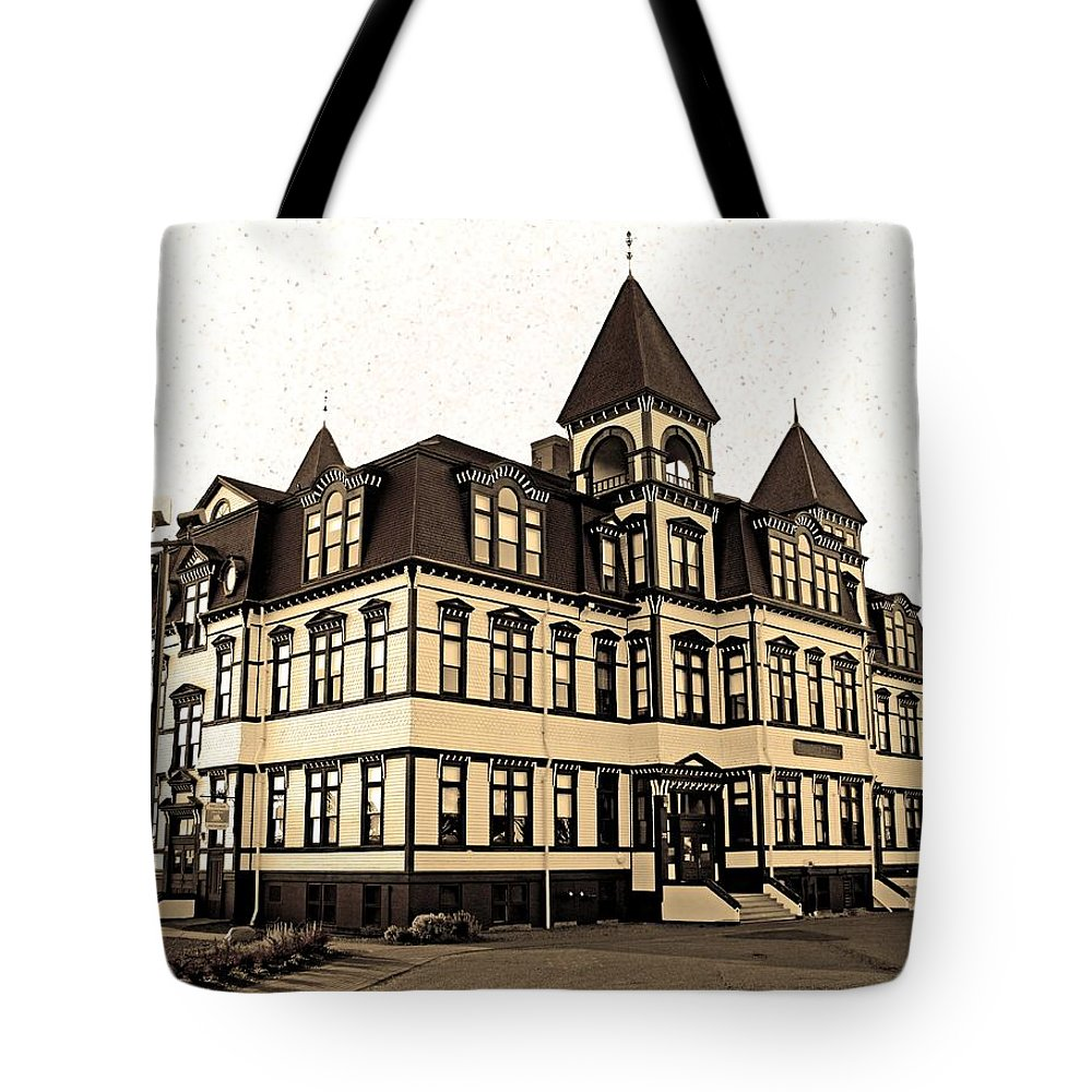 Lunenburg Academy Tote Bag featuring the photograph Lunenburg Academy Sepia 3 by Mark Sellers