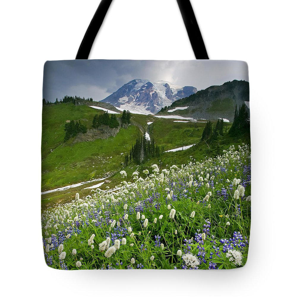 Rainier Tote Bag featuring the photograph Lupine Storm by Mike Dawson