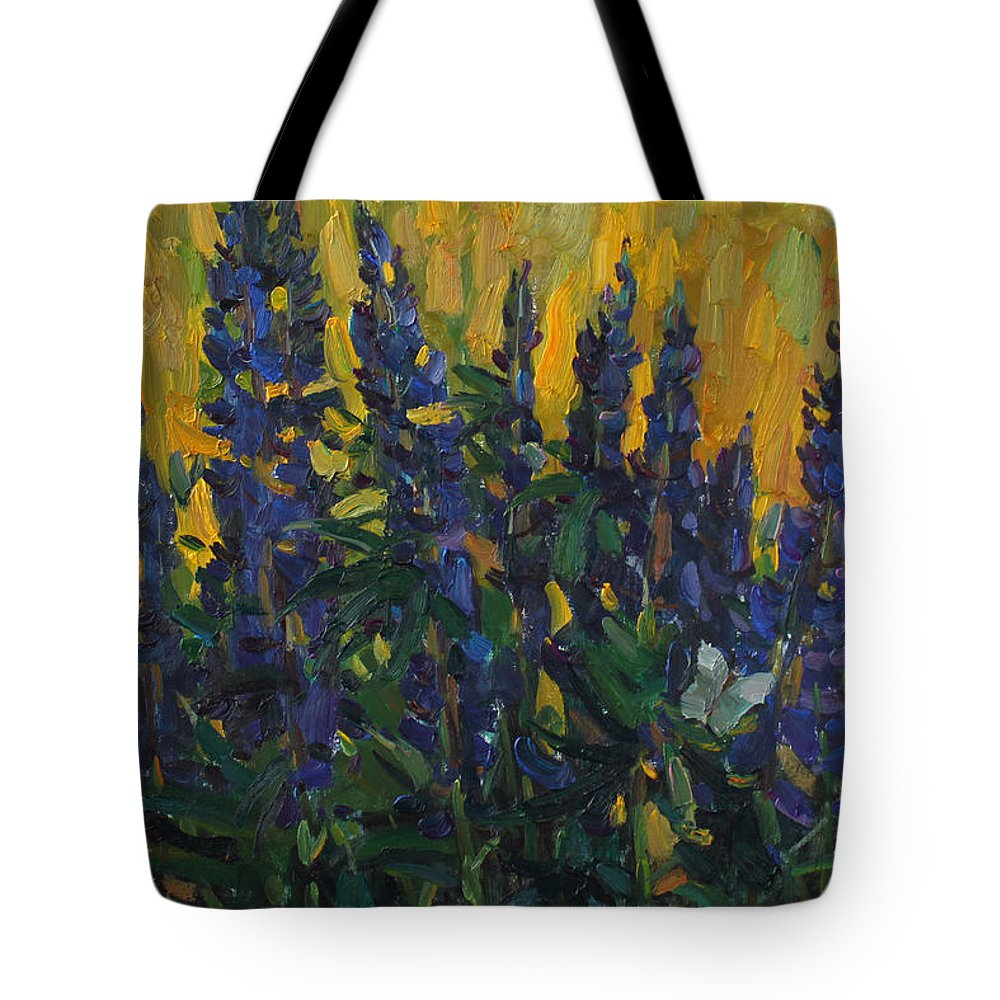 Lupins Tote Bag featuring the painting Lupins by Juliya Zhukova