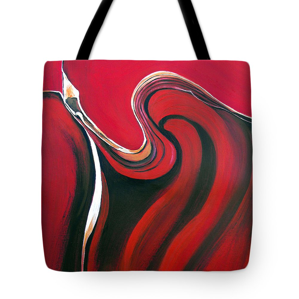 Abstract Tote Bag featuring the painting Luscious Red by Ruth Palmer