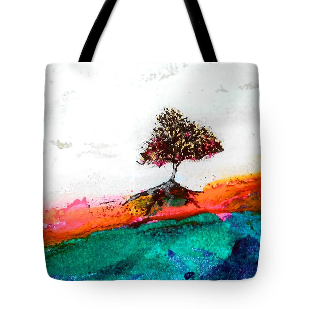 Tree Tote Bag featuring the mixed media Luscious by Vanessa Katz