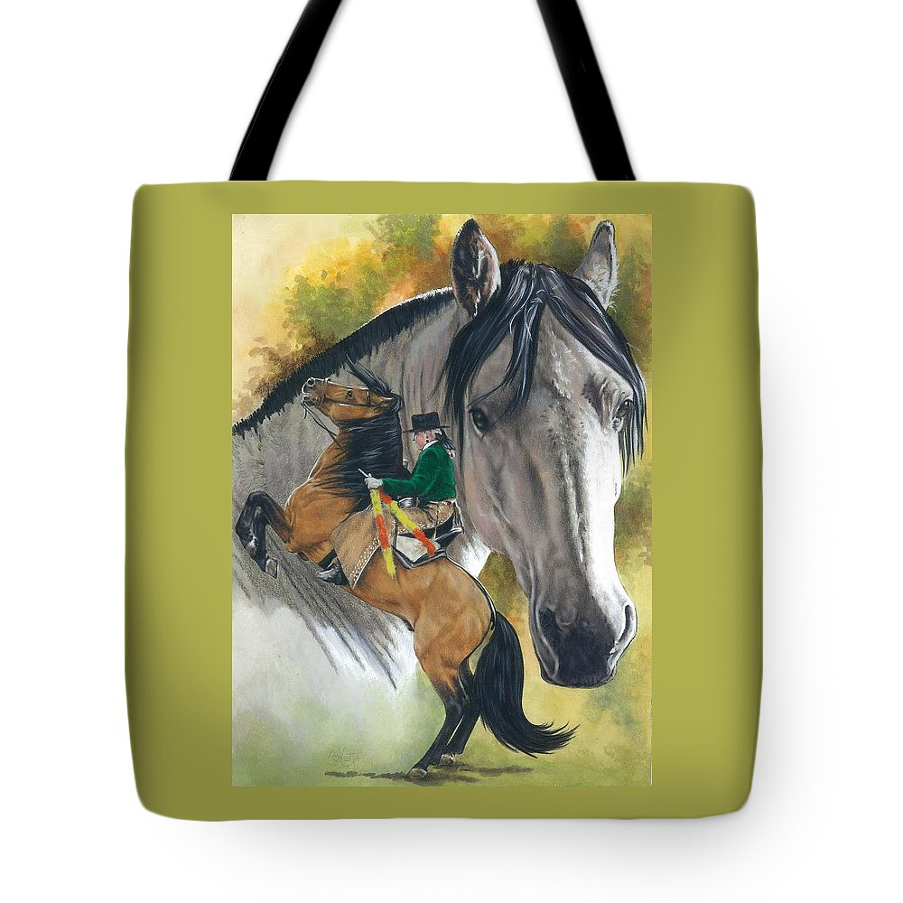 Hoof Stock Tote Bag featuring the mixed media Lusitano by Barbara Keith