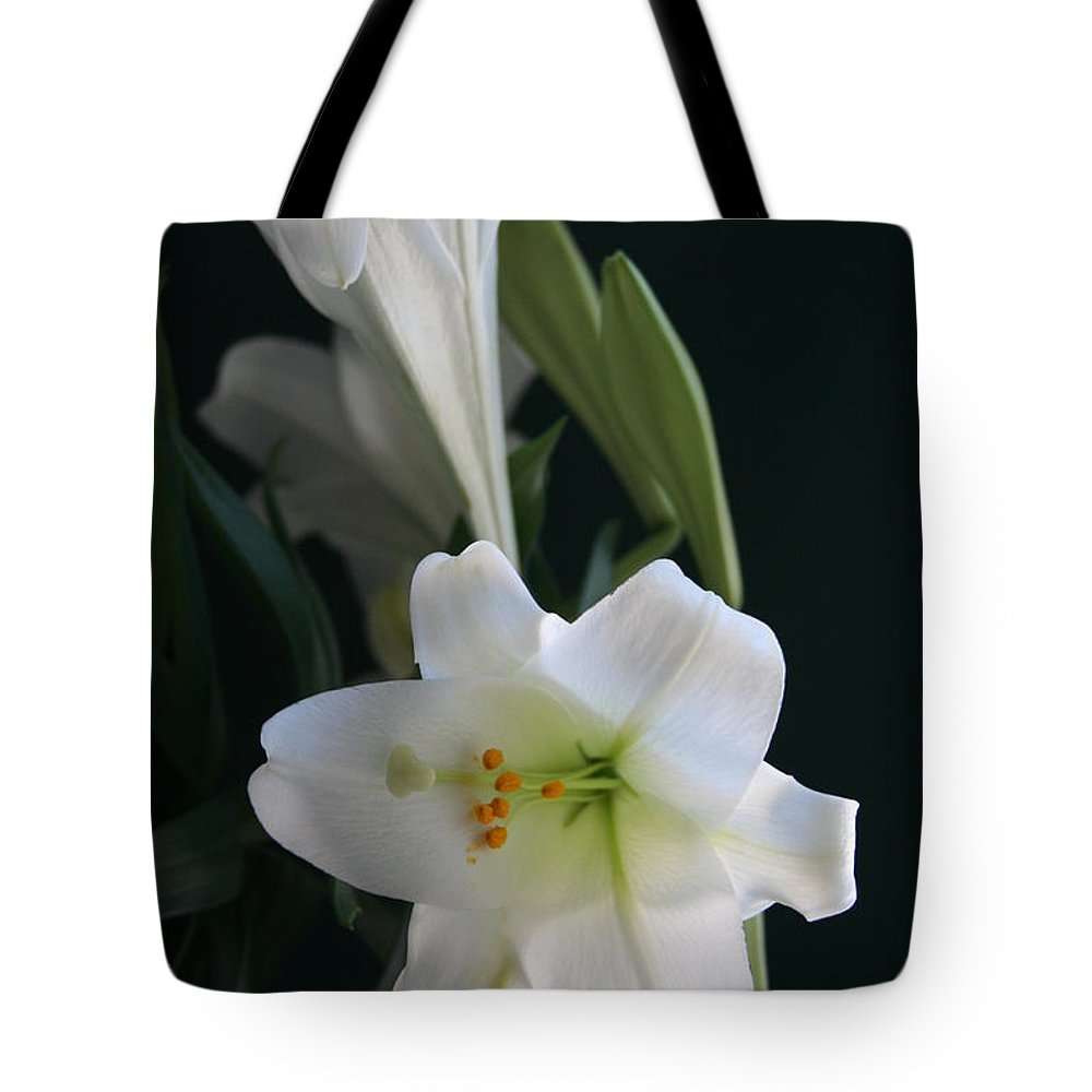 Lily Tote Bag featuring the photograph Lustrous Lilies by Mary Gaines
