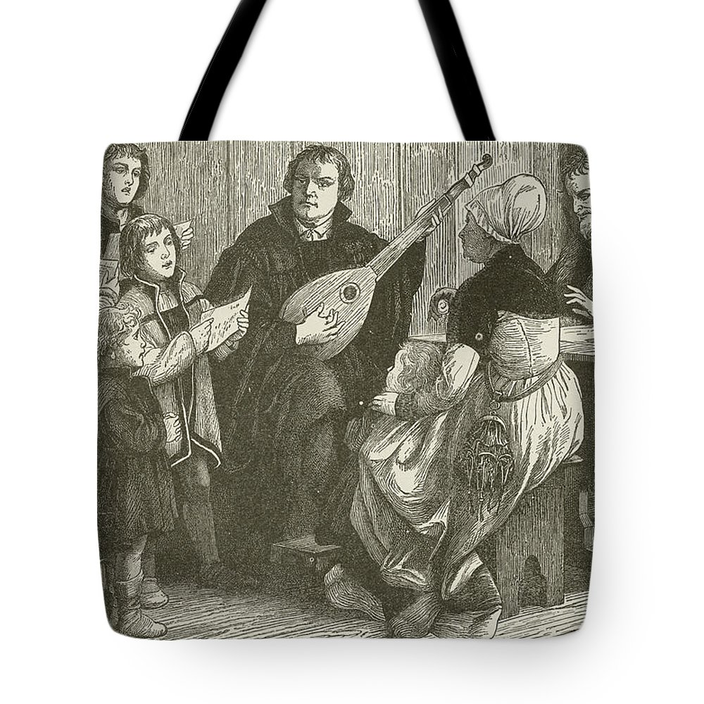 Martin Luther Tote Bag featuring the drawing Luther In The Midst Of His Family by American School
