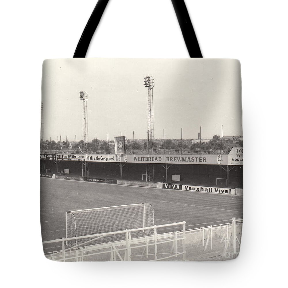 Tote Bag featuring the photograph Luton Town - Kenilworth Road - Bobbers Stand West Side 1 - Bw - August 1969 by Legendary Football Grounds