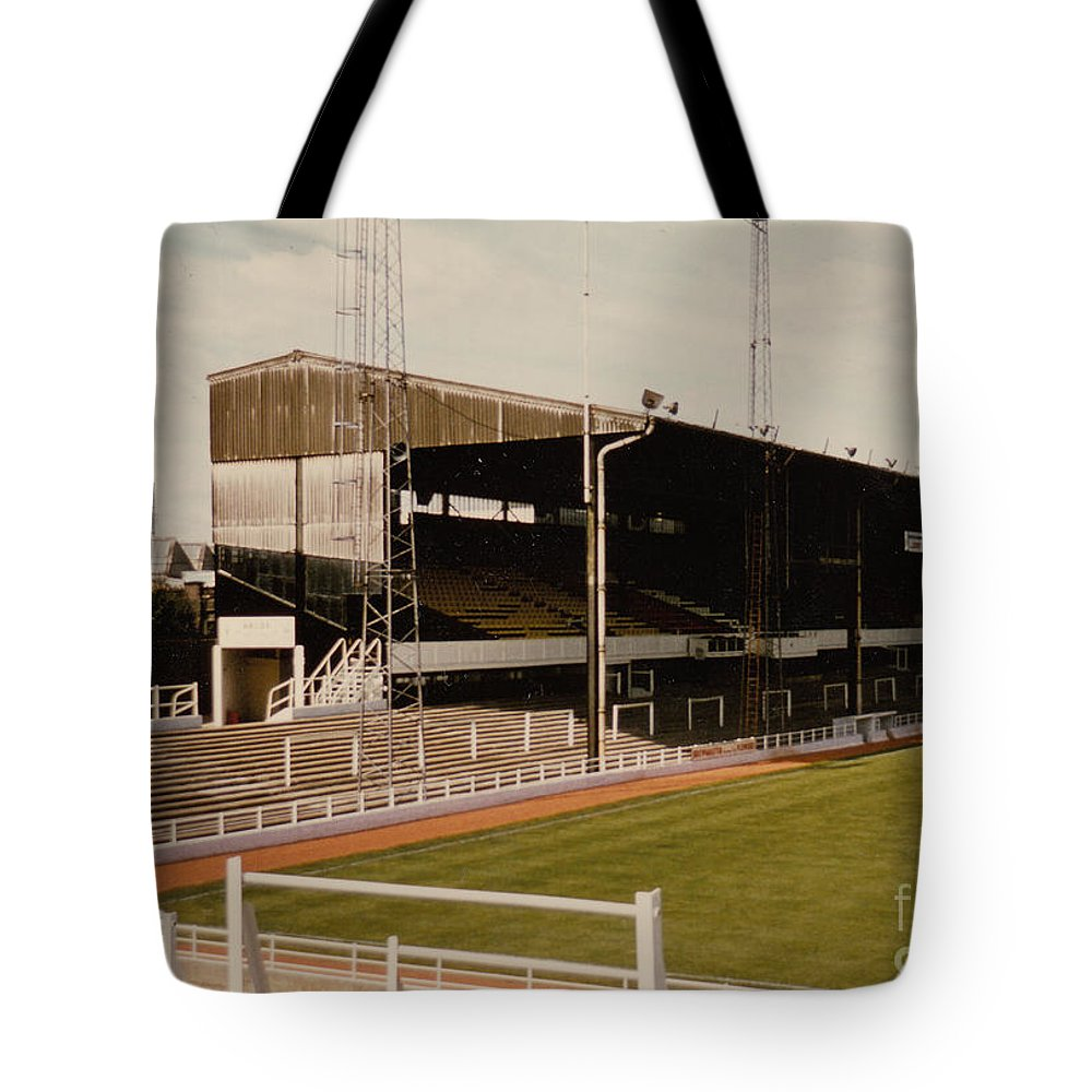 Tote Bag featuring the photograph Luton Town - Kenilworth Road - Main Stand East Side 1 - 1970s by Legendary Football Grounds