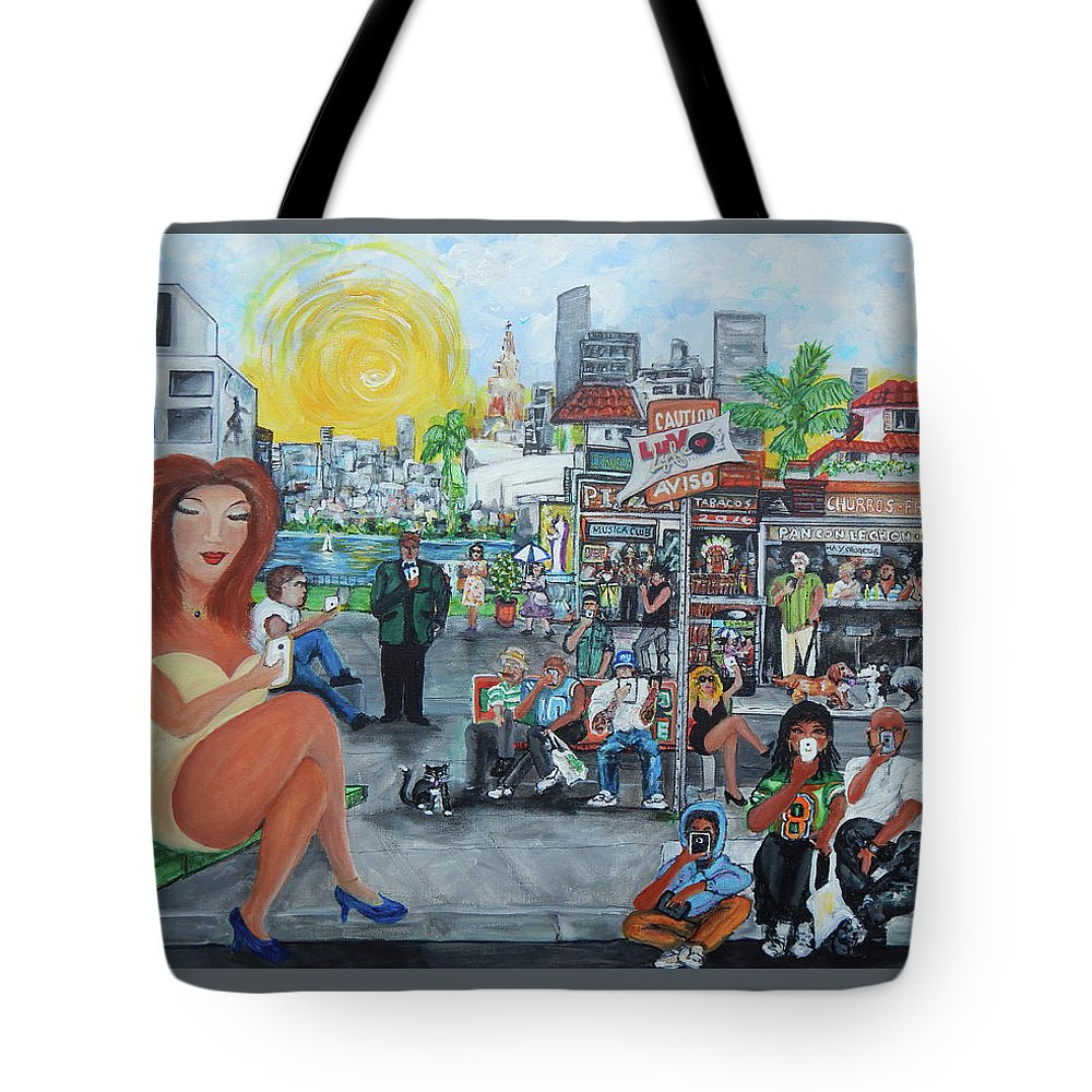 Little Havana Tote Bag featuring the painting LuvLyfe.xyz - Love Life- Ama la Vida by Jorge Delara