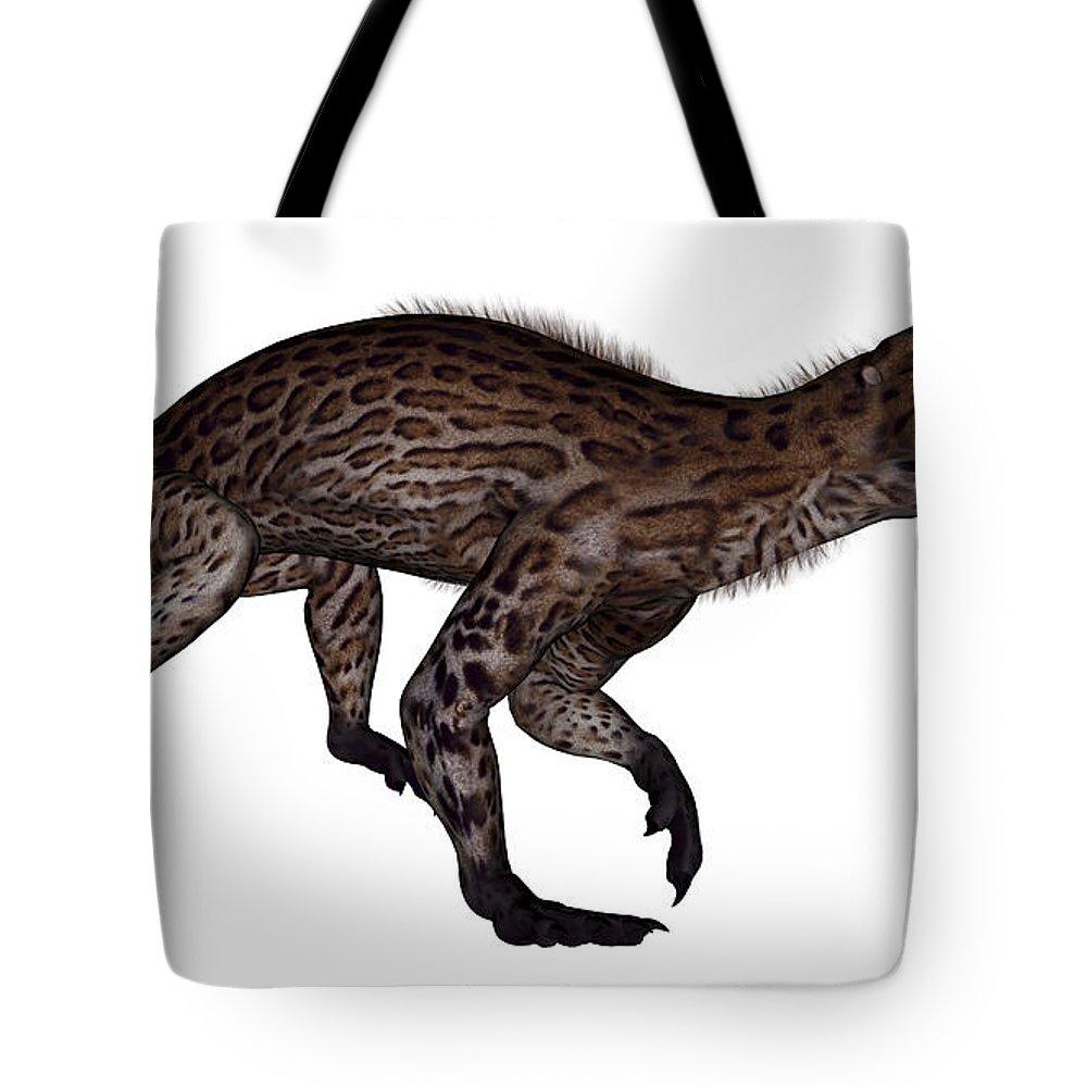 Dinosaur Tote Bag featuring the digital art Lycaenops Dinosaur Walking, White by Elena Duvernay