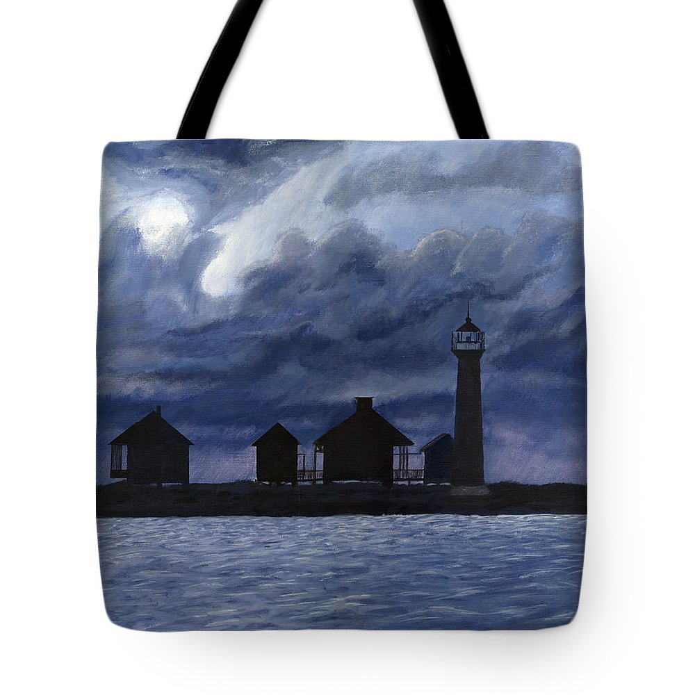 Landscape Tote Bag featuring the painting Lydia Ann Lighthouse by Adam Johnson