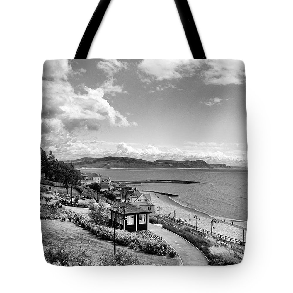 Blackandwhitephotography Tote Bag featuring the photograph Lyme Regis And Lyme Bay, Dorset by John Edwards