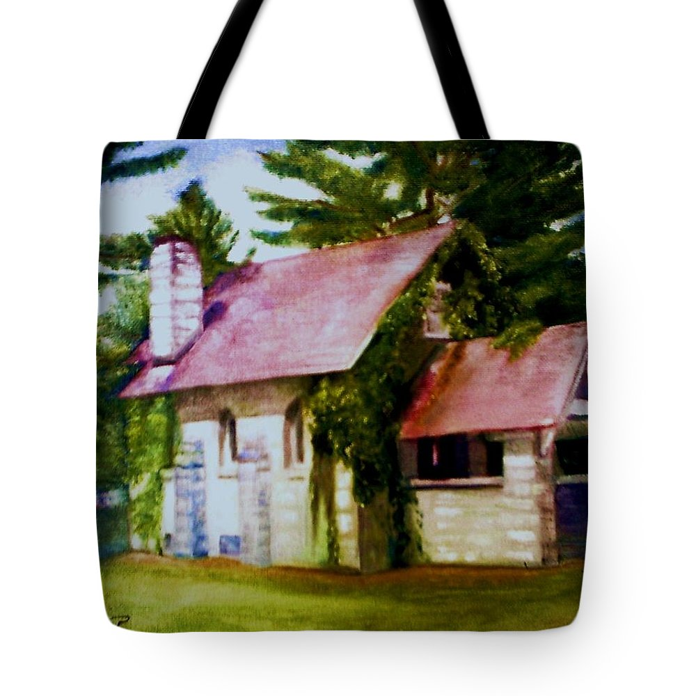 Church Tote Bag featuring the painting Lyons Falls Church by Sheila Mashaw