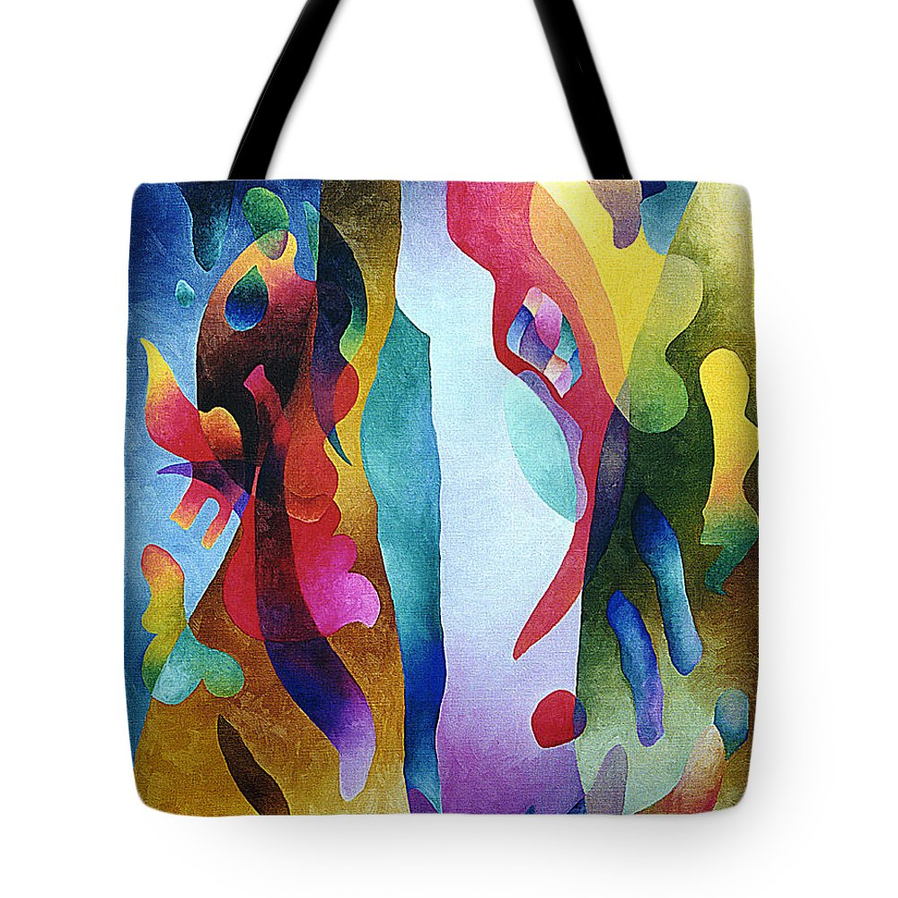 Abstract Tote Bag featuring the painting Lyrical Grouping by Sally Trace