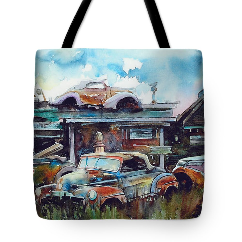 Fords Tote Bag featuring the painting Lytton Station by Ron Morrison