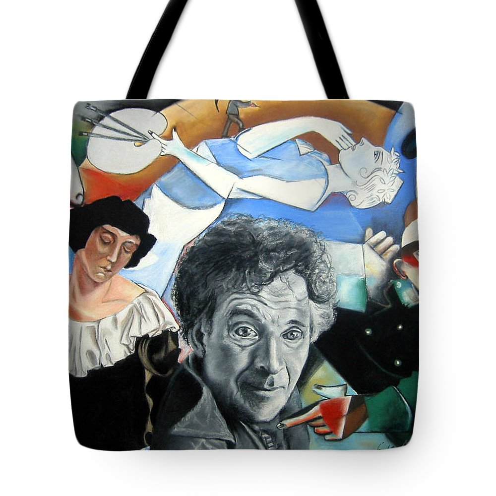 Chagall Portrait Tote Bag featuring the drawing M Chagall by Leyla Munteanu