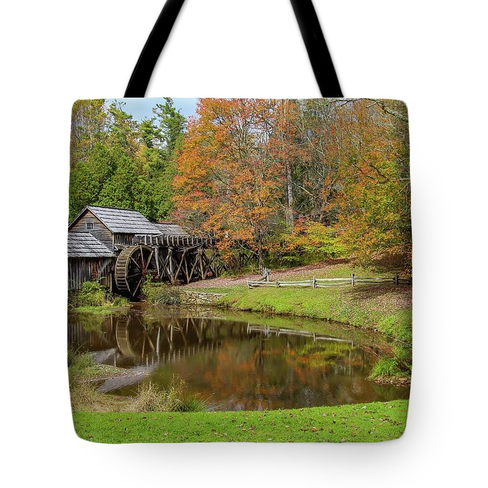 Reflection Tote Bag featuring the photograph Mabry Mill In Fall 1 by Kevin Craft