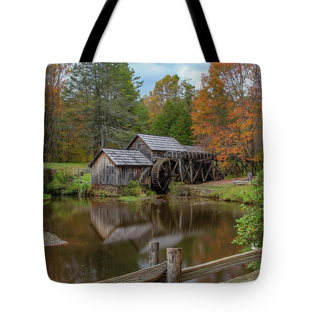 Fence Tote Bag featuring the photograph Mabry Mill In Fall 2 by Kevin Craft