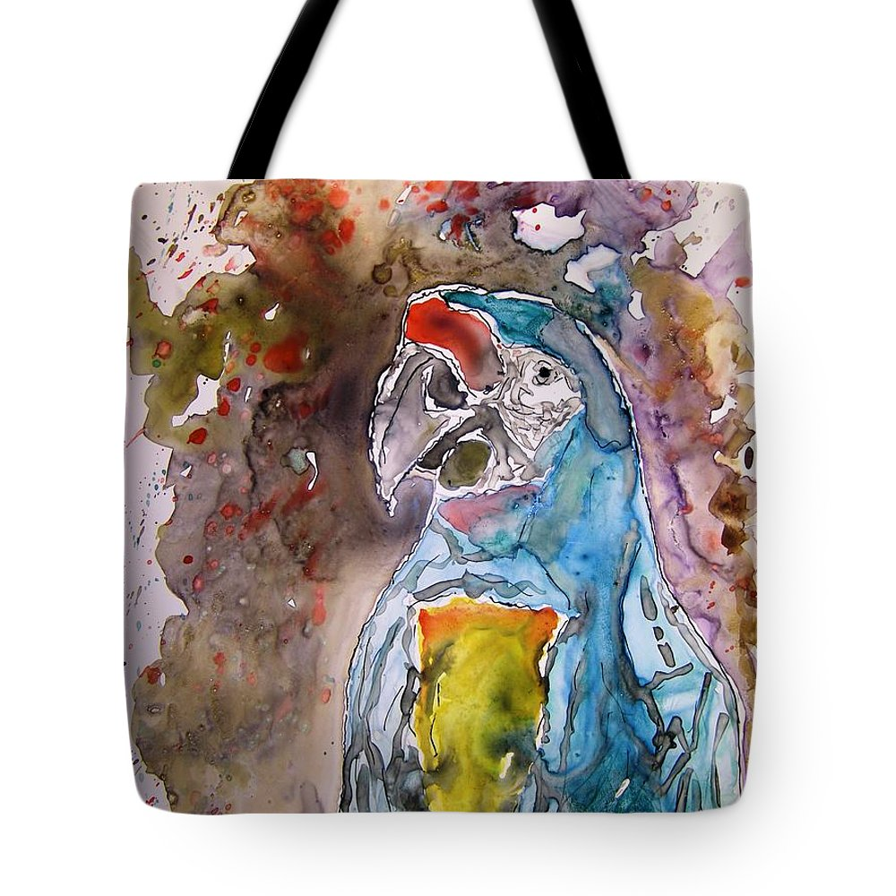 Parrot Tote Bag featuring the painting Macaw Parrot by Derek Mccrea