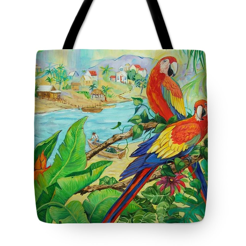 Birds Tote Bag featuring the painting Macaws by Dianna Willman