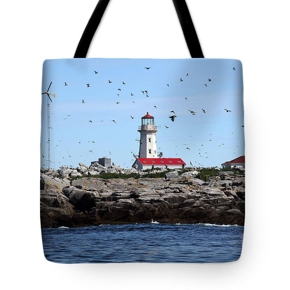 Machias Seal Island Tote Bag featuring the photograph Machias Seal Island Lighthouse by Brenda Giasson
