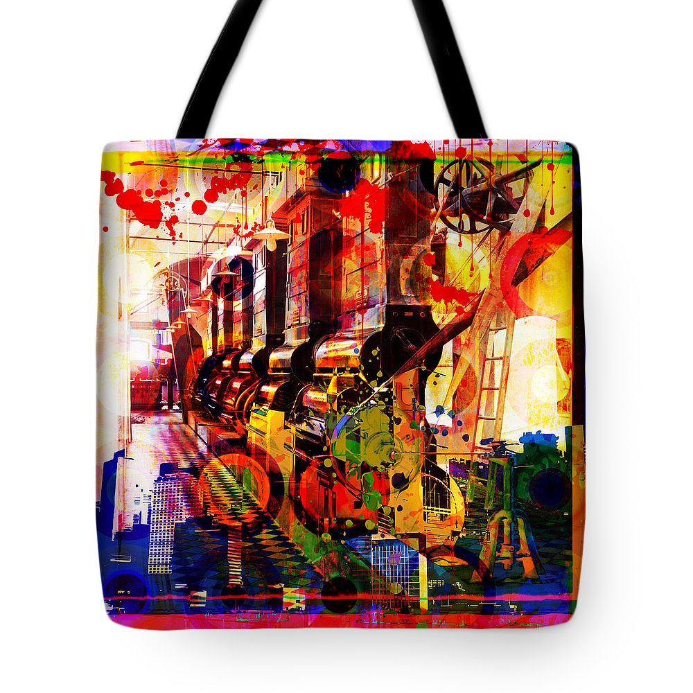 Digital Photographic Vector Montage Tote Bag featuring the painting Machine Age-1 by Gary Grayson