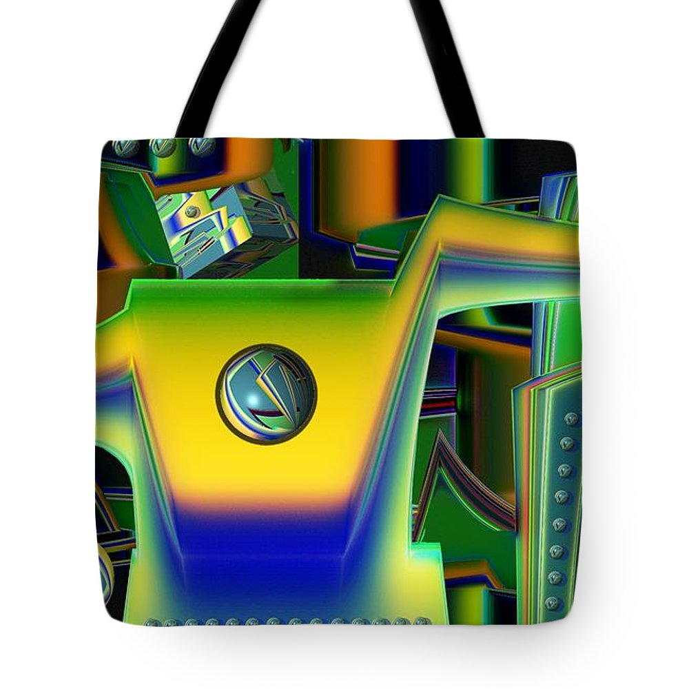 Assembly Line Tote Bag featuring the digital art Machinery by Ron Bissett