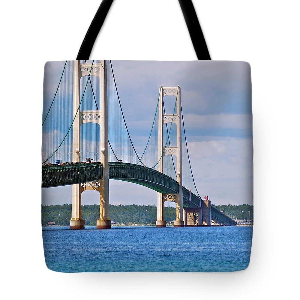 America Tote Bag featuring the photograph Mackinac Bridge by Michael Peychich