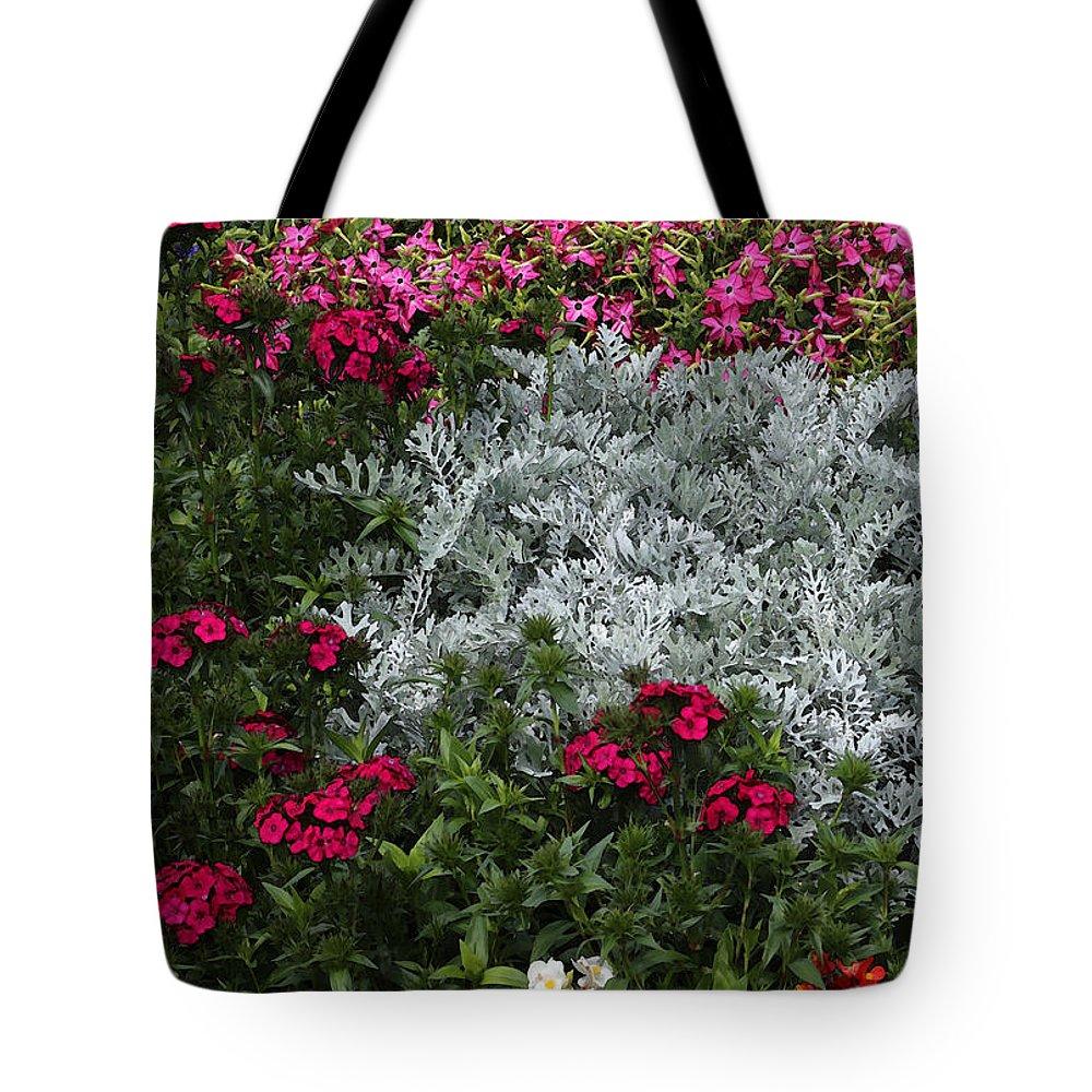 Garden Tote Bag featuring the photograph Mackinac Bridge Overlook Garden 2 by Mary Bedy
