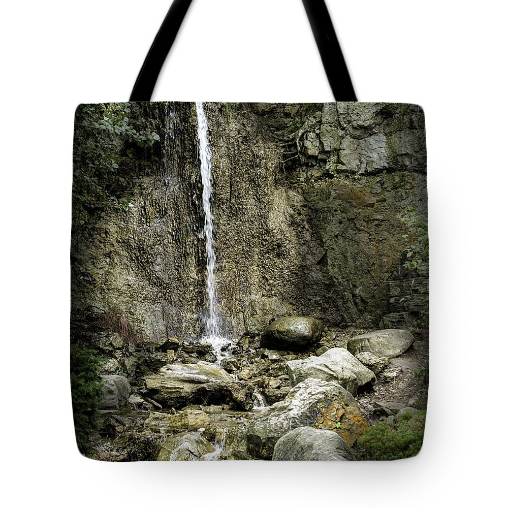 Michigan Tote Bag featuring the photograph Mackinaw City Park Waterfalls 1 by Timothy Hacker