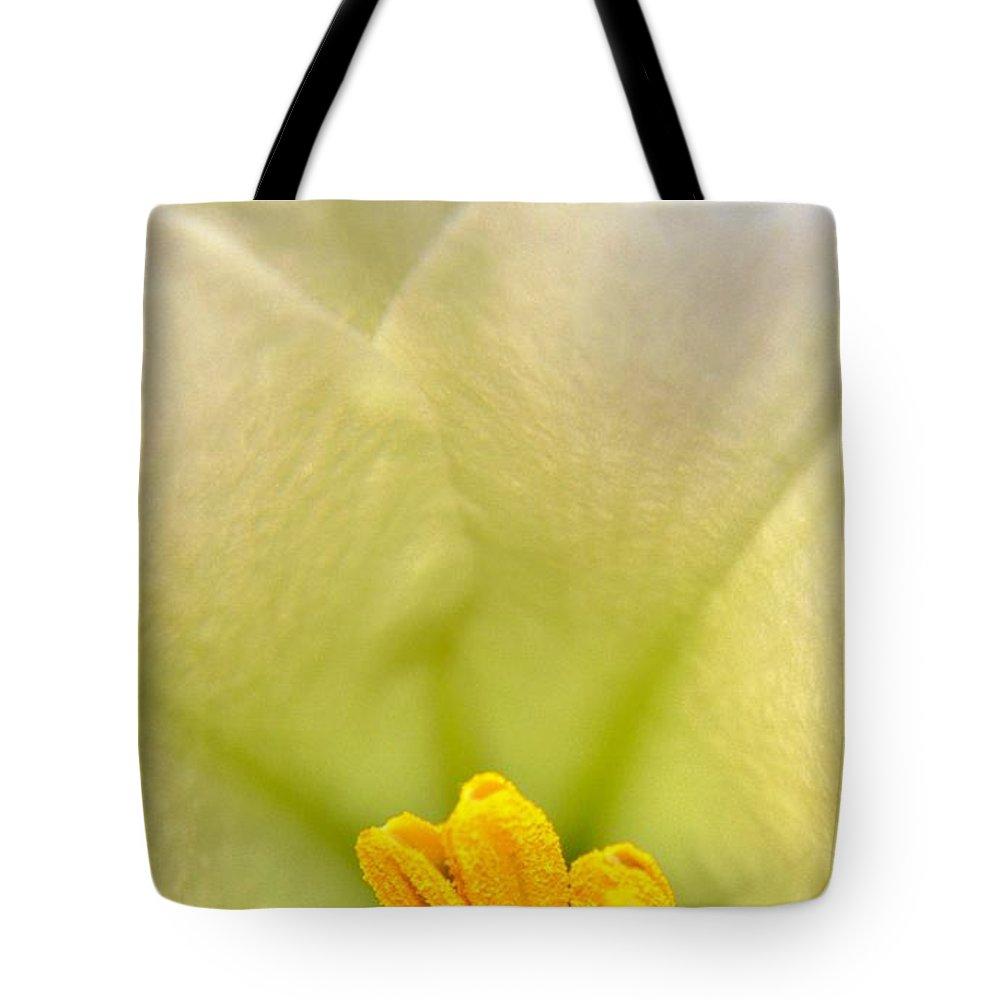 Macro Tote Bag featuring the photograph Macro Easter Lily by Karen Majkrzak