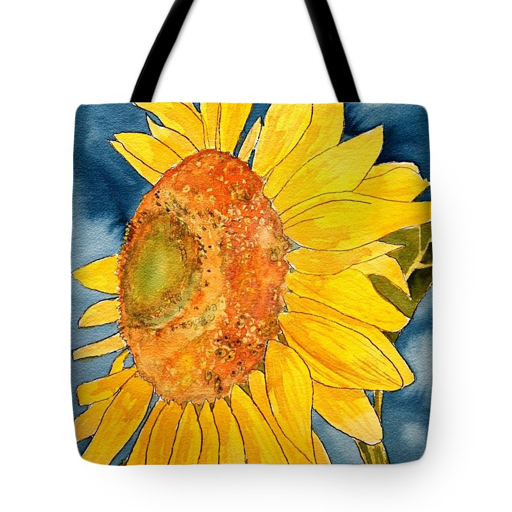 Sunflower Tote Bag featuring the painting Macro Sunflower Art by Derek Mccrea