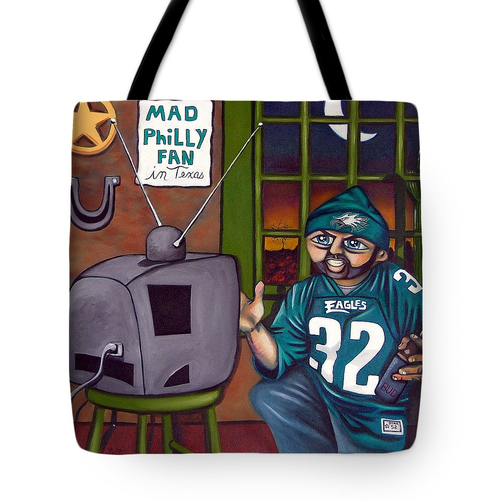 Philadelphia Tote Bag featuring the painting Mad Philly Fan In Texas by Elizabeth Lisy Figueroa