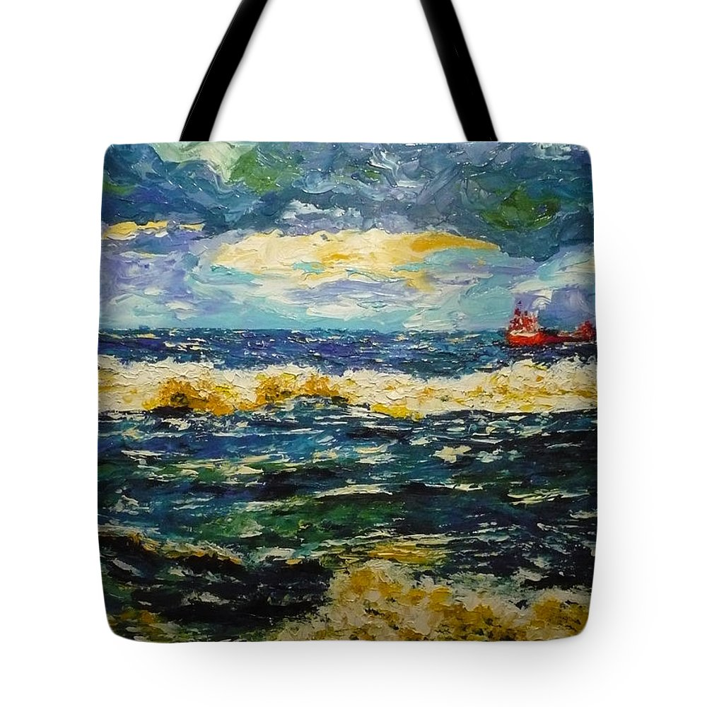 Sea Tote Bag featuring the painting Mad Sea by Ericka Herazo