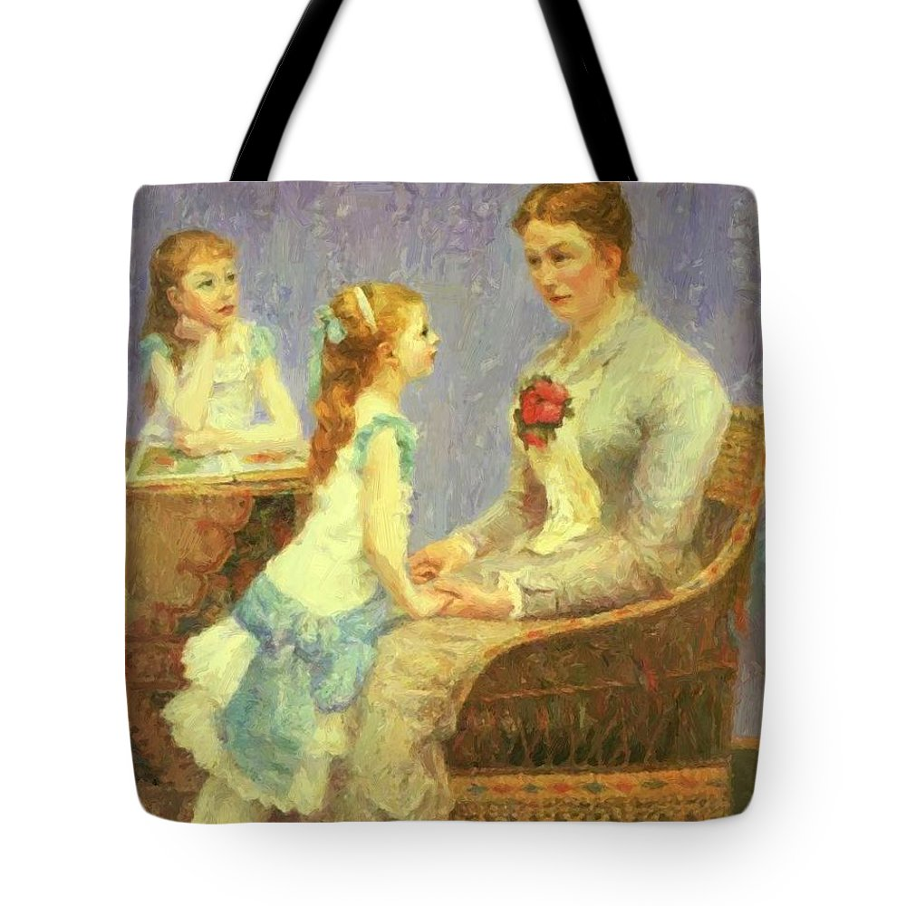 Madame Tote Bag featuring the painting Madame Bouchet Et Ses Filles by DuboisPillet Albert