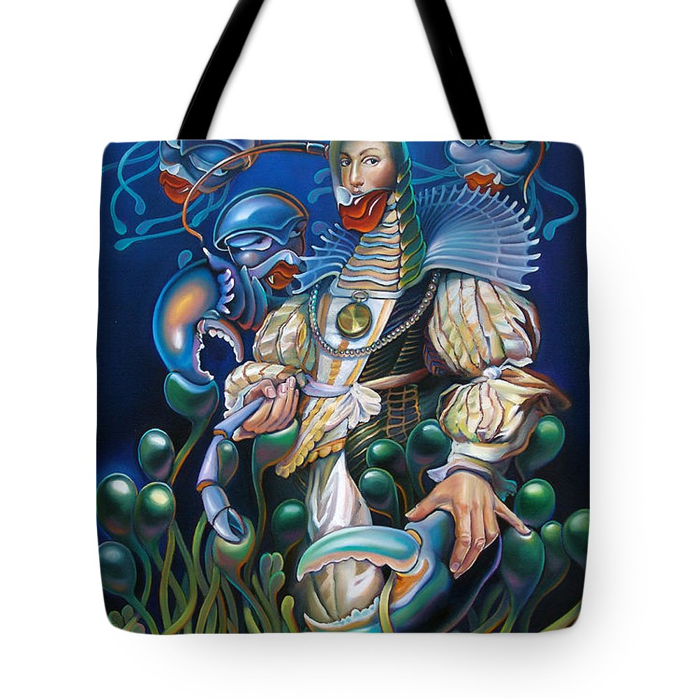 Sea Anemone Tote Bag featuring the painting Madame Clawdia D'bouclier From Mask Of The Ancient Mariner by Patrick Anthony Pierson