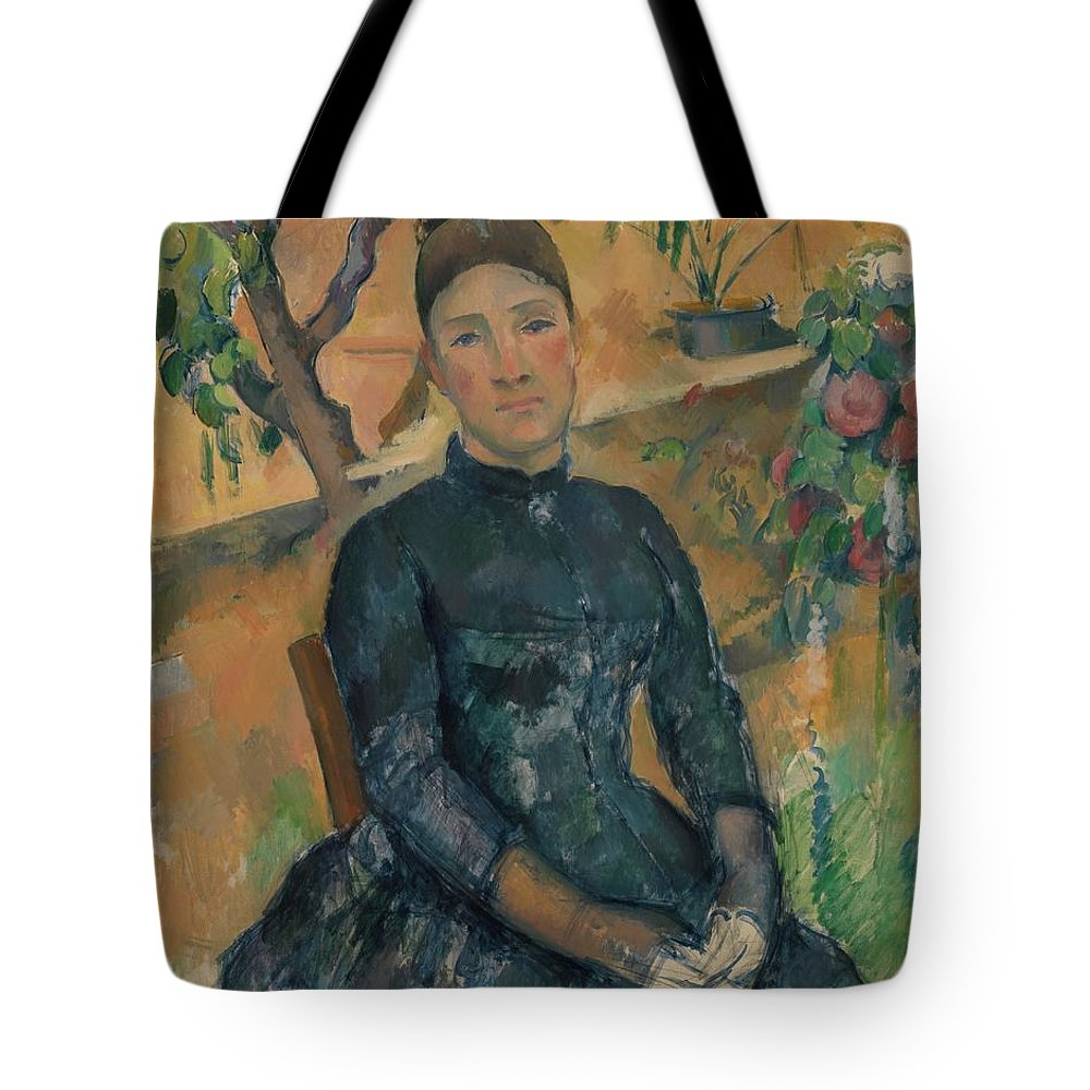 Paul Czanne Madame Czanne Hortense Fiquet 18501922 In The Conservatory Tote Bag featuring the painting Madame Czanne Hortense Fiquet 18501922 In The Conservatory by Paul Czanne