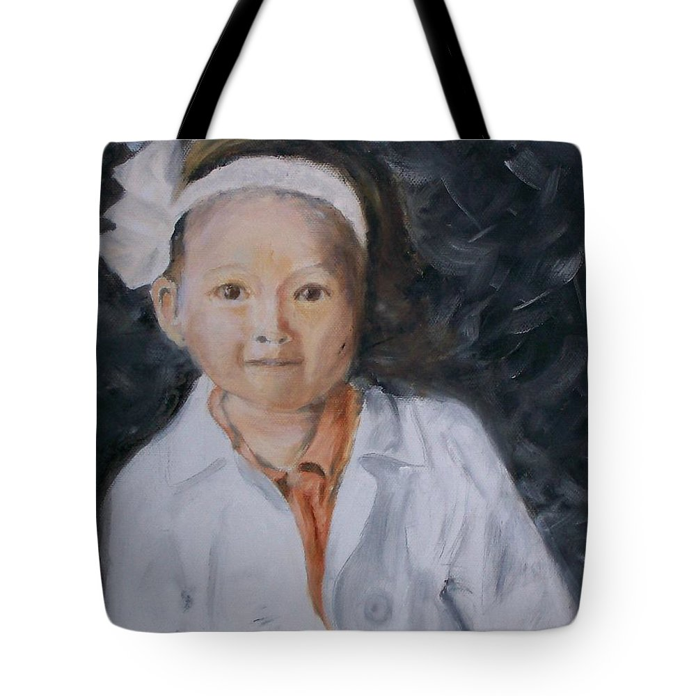 Portrait Tote Bag featuring the painting Maddie by Stephen King