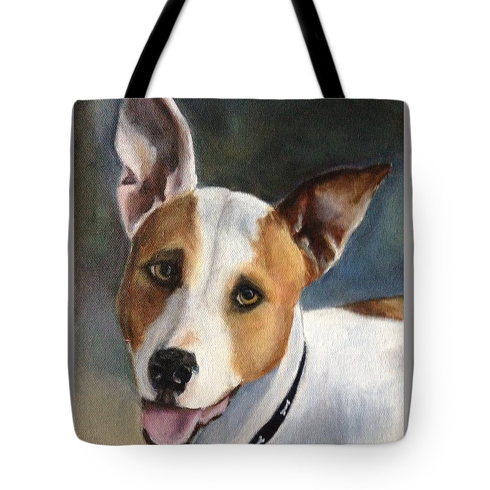 Maddox Tote Bag featuring the painting Terrier by FayBecca