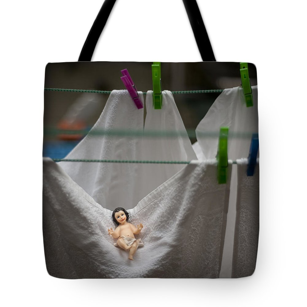 Christmas Tote Bag featuring the photograph Made In China Baby Jesus by Rafa Rivas