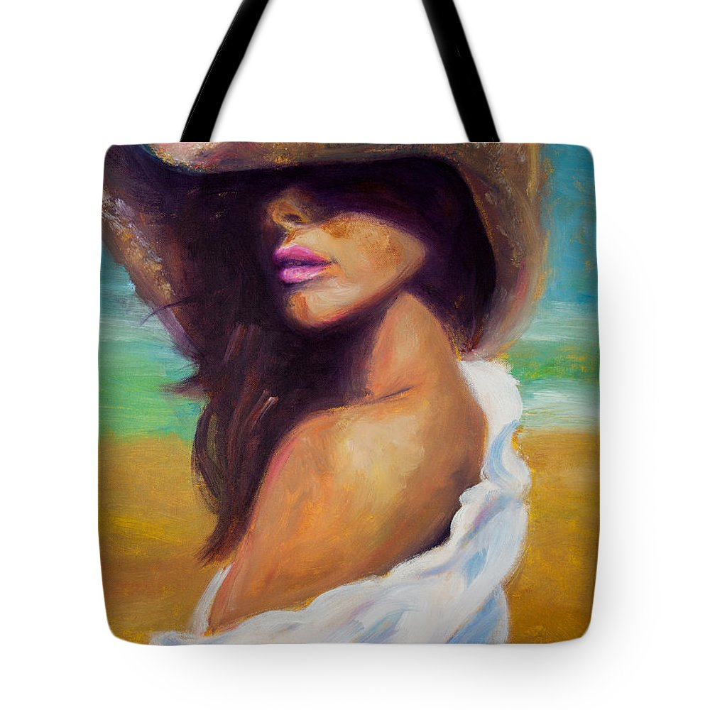Girl Tote Bag featuring the painting Made In The Shade by Jason Reinhardt