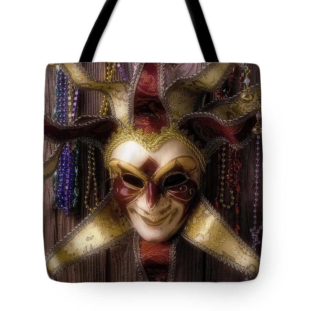 Mardi Gras Tote Bag featuring the photograph Madi Gras Mask And Beads by Garry Gay