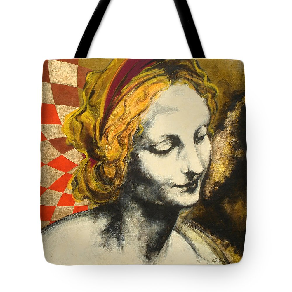 Pop Tote Bag featuring the painting Madona Face by Jean Pierre Rousselet