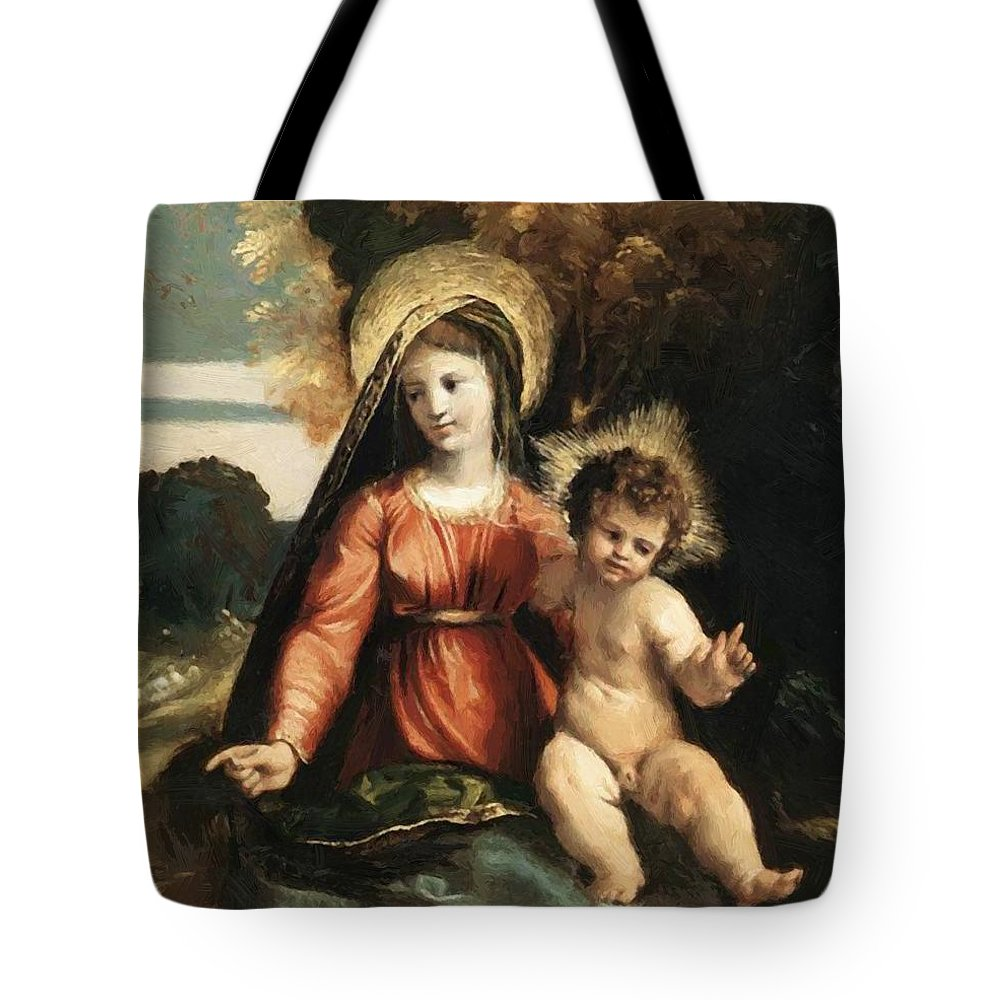 Madonna Tote Bag featuring the painting Madonna And Child 1525 by Dossi Dosso
