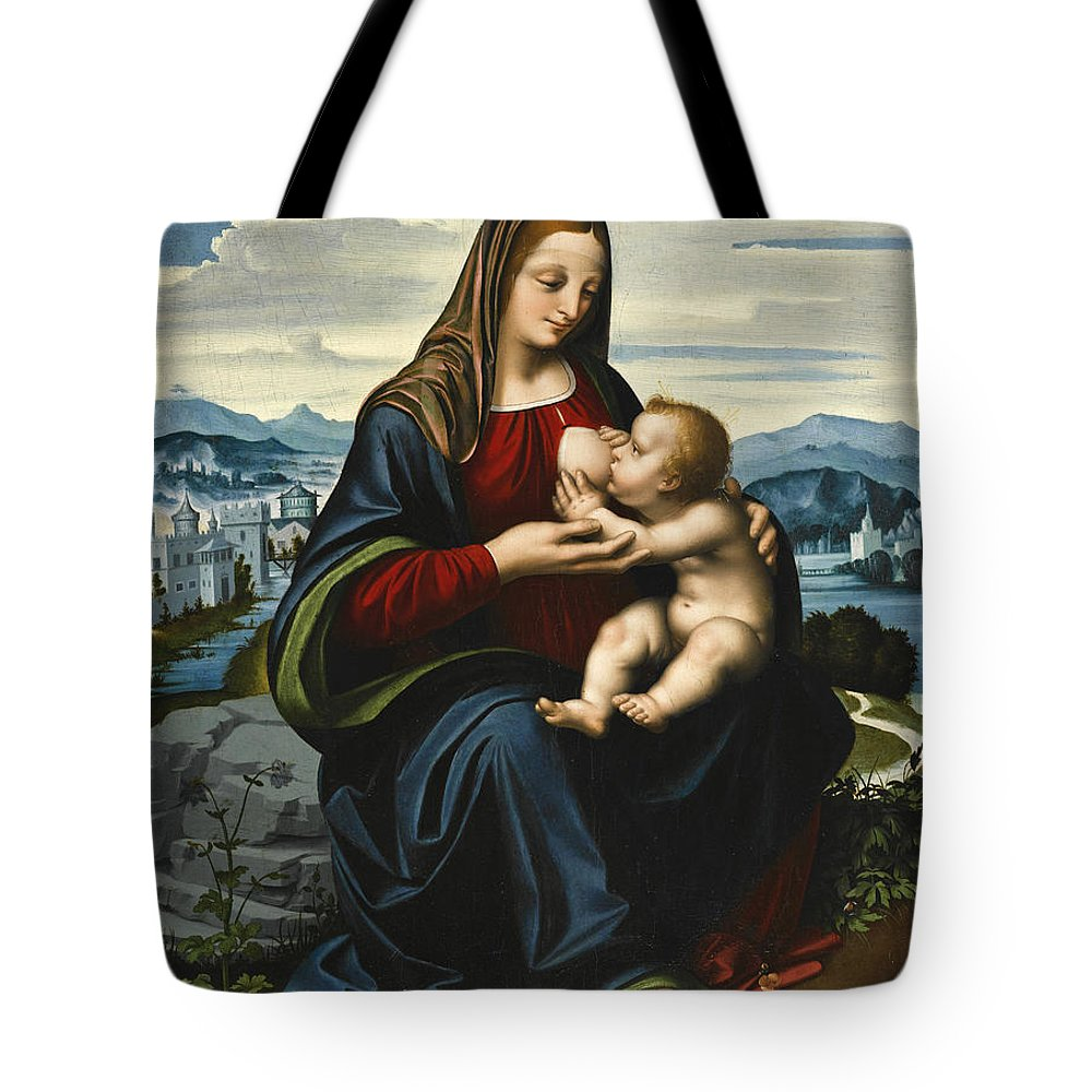 Marco D'oggiono Tote Bag featuring the painting Madonna And Child Before A Landscape by Marco d'Oggiono