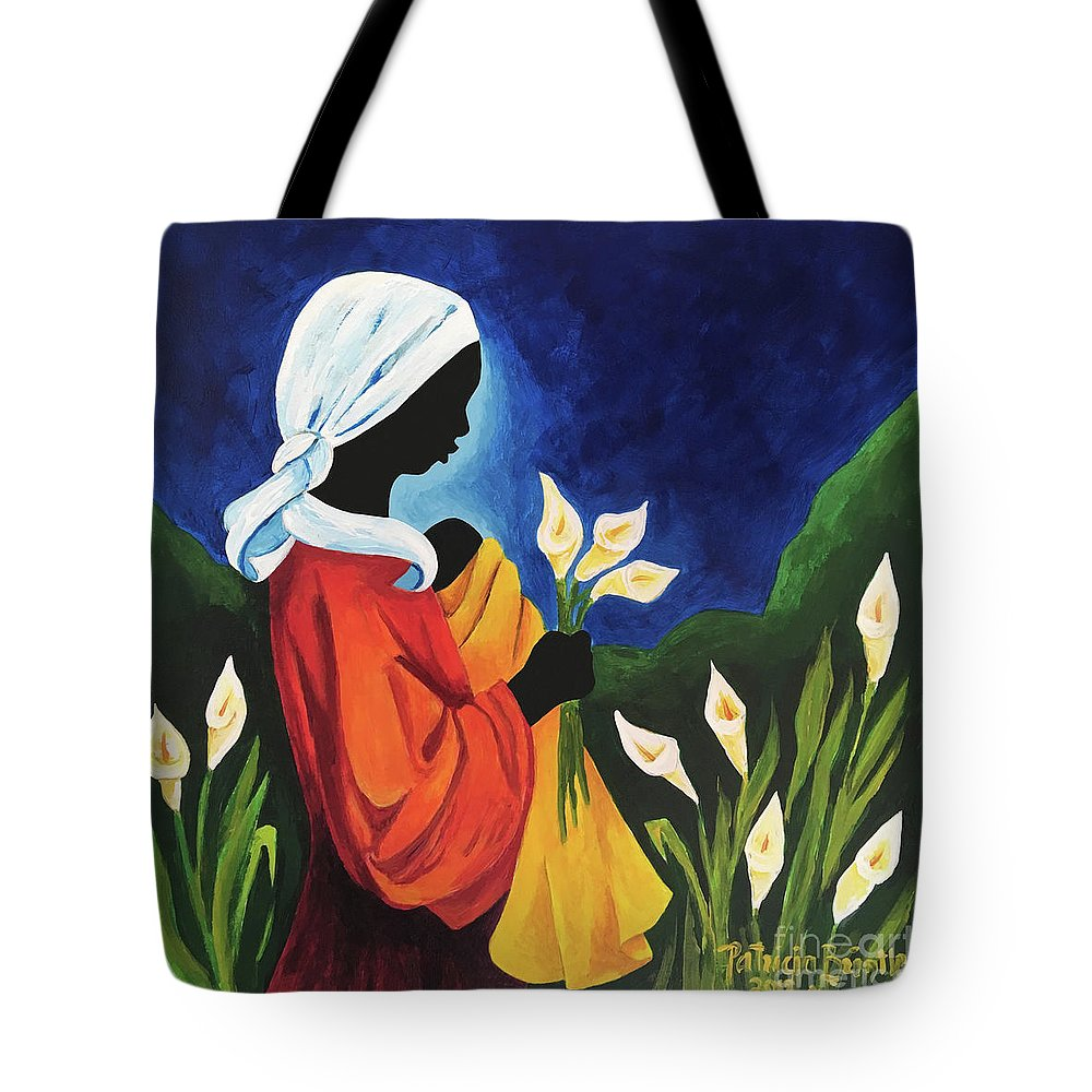 Calla Lilylily Tote Bag featuring the painting Madonna And Child Of The Callas by Patricia Brintle