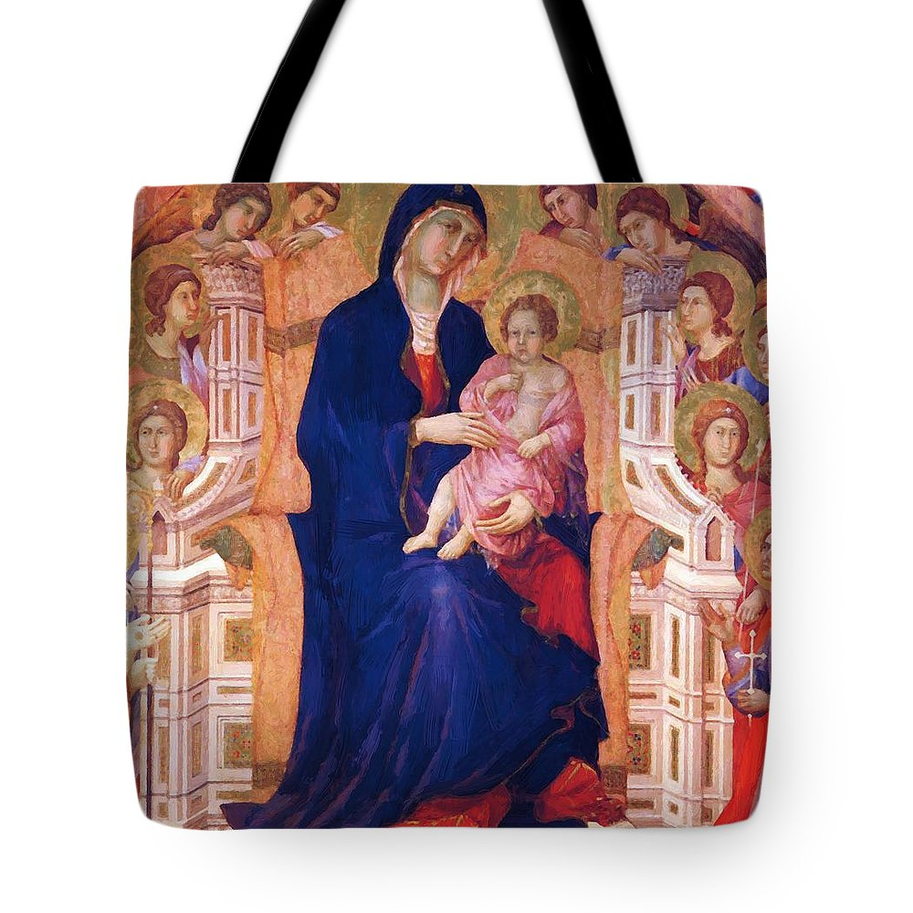 Madonna Tote Bag featuring the painting Madonna And Child On A Throne 1311 by Duccio