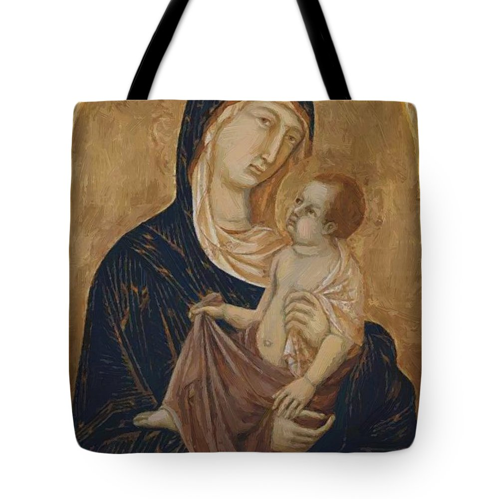 Madonna Tote Bag featuring the painting Madonna by Duccio