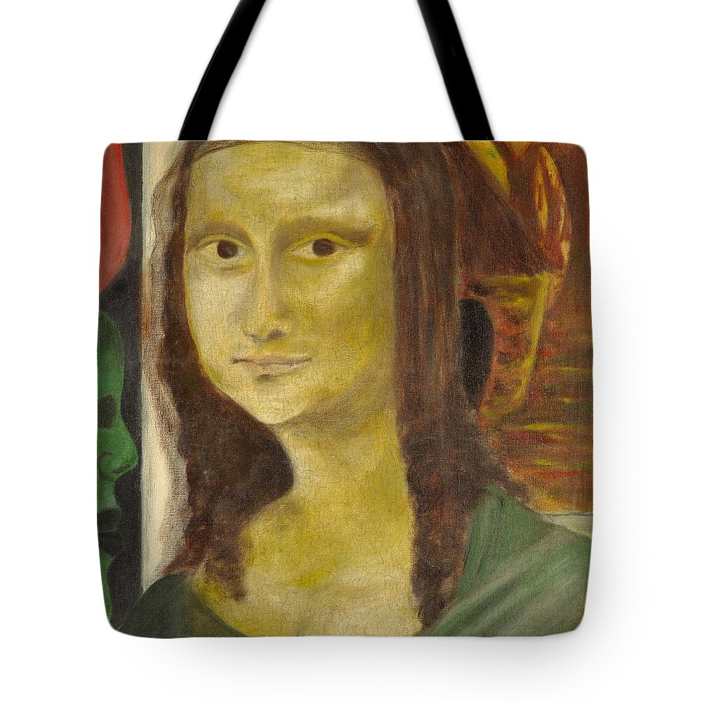 Madonna Tote Bag featuring the painting Madonna In Africa by Emeka Okoro
